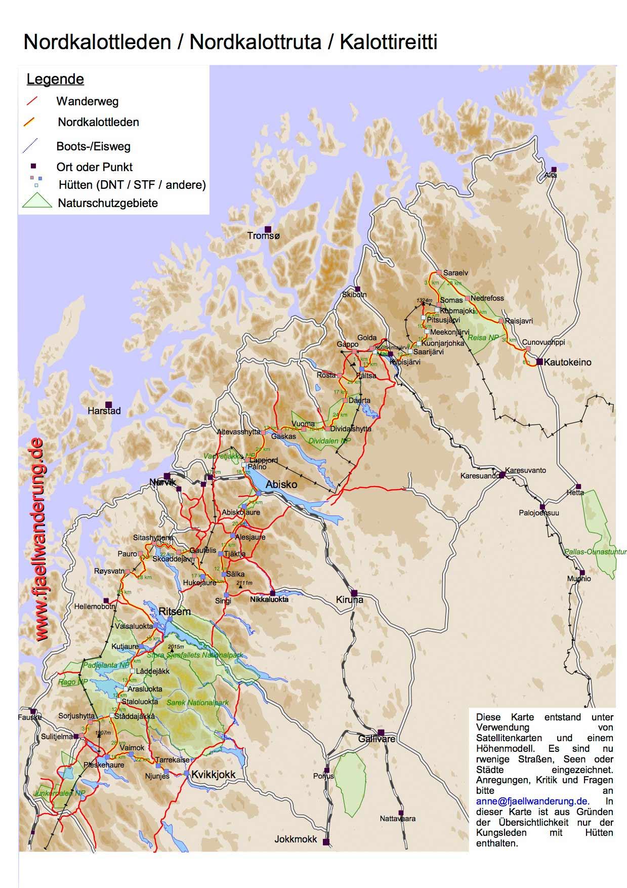 Nordkalottleden-trekking-wandern-karte